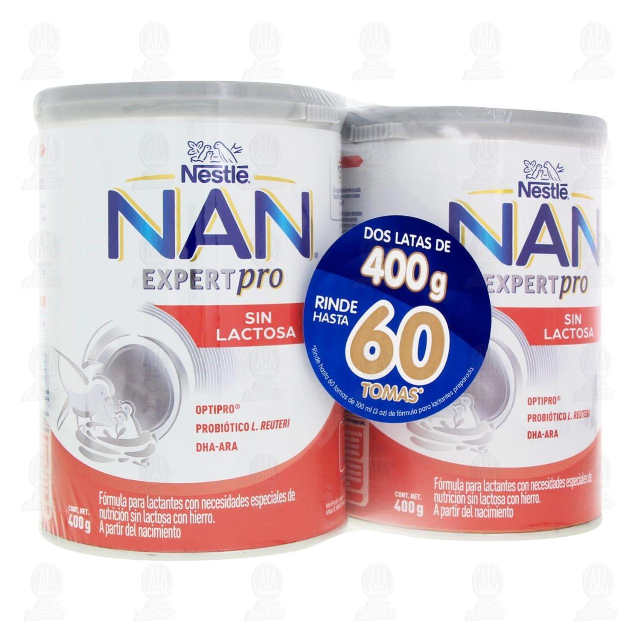 Fórmula Infantil Nestlé Nan Sin Lactosa (A Partir del Nacimiento), 400 gr + 400 gr.