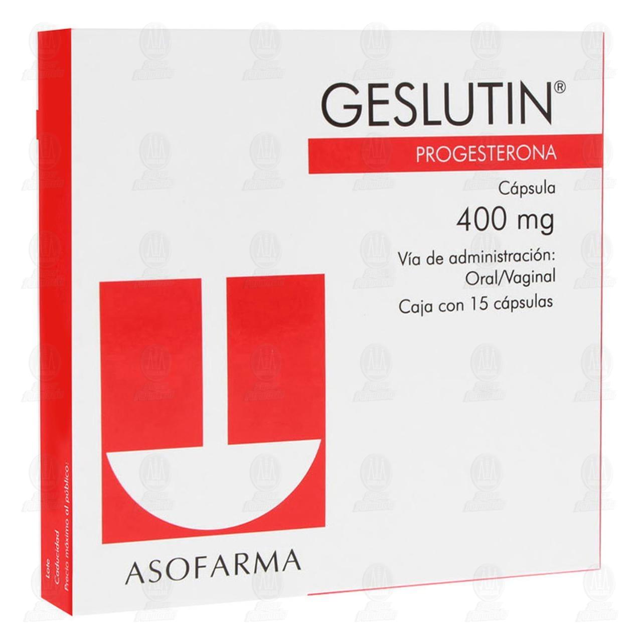 Comprar Geslutin 400mg 15 Cápsulas Oral / Vaginal en Farmacias Guadalajara