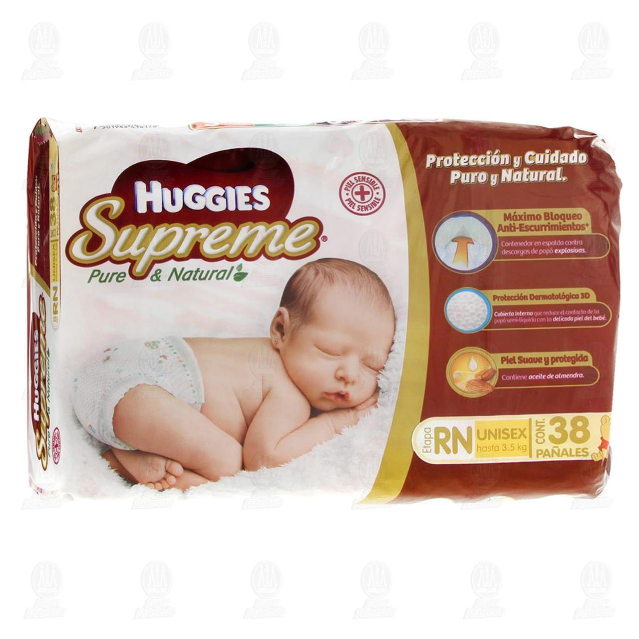 Comprar Pañales para Bebé Huggies Supreme Pure & Natural Unisex Etapa RN, 38 pzas. en Farmacias Guadalajara
