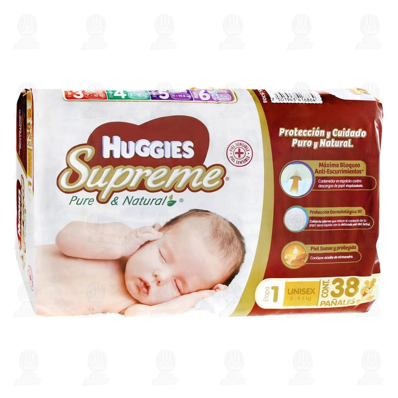 Comprar Pañales Huggies Supreme Etapa 1 Unisex, 38 pzas. en Farmacias Guadalajara