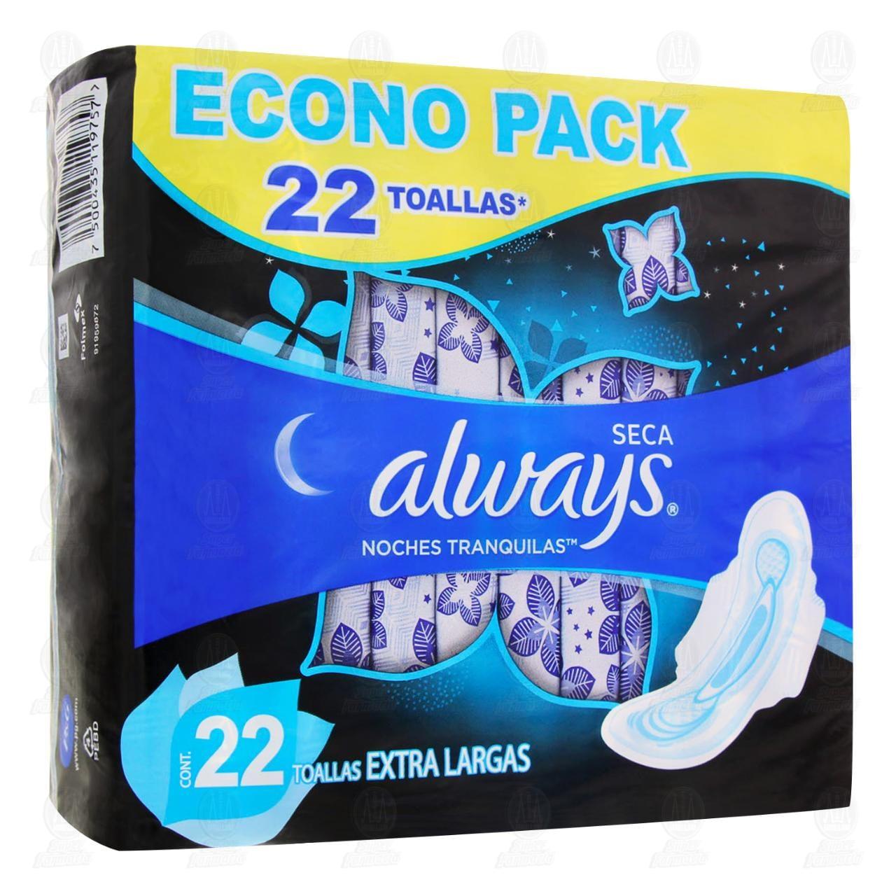 Toallas Always Seca Noches Tranquillas 22 Unidades