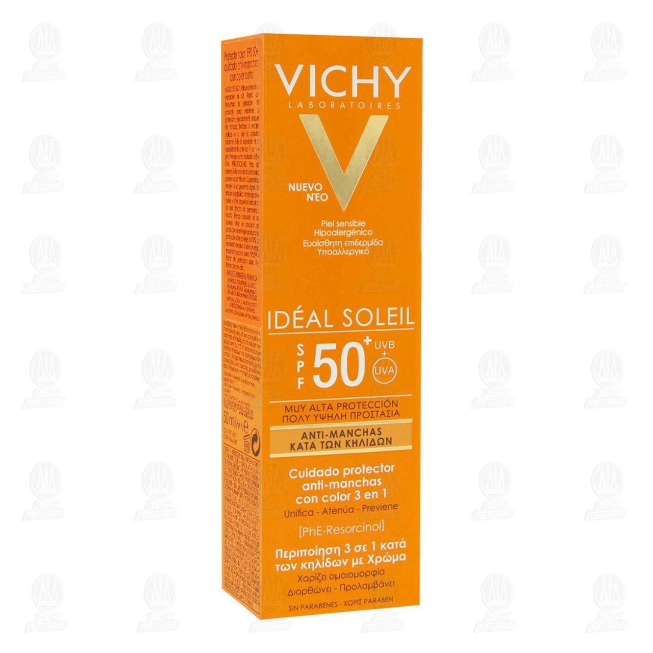 Comprar Vichy Idéal Soleil Anti-Manchas Cuidado Protector con Color 3 en 1 SPF 50, 50 ml. en Farmacias Guadalajara