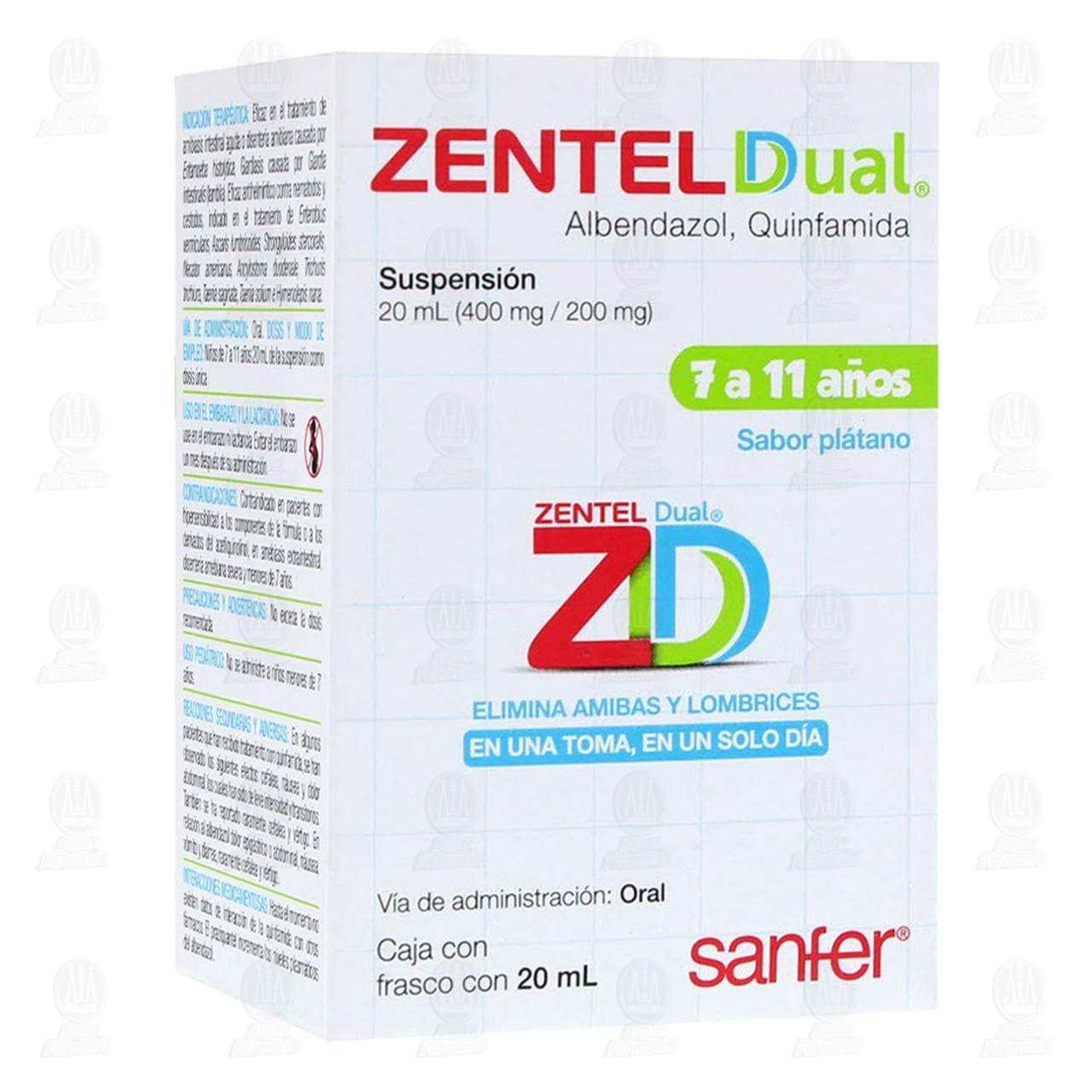 Comprar Zentel Dual Suspensión Sabor Plátano 20ml en Farmacias Guadalajara