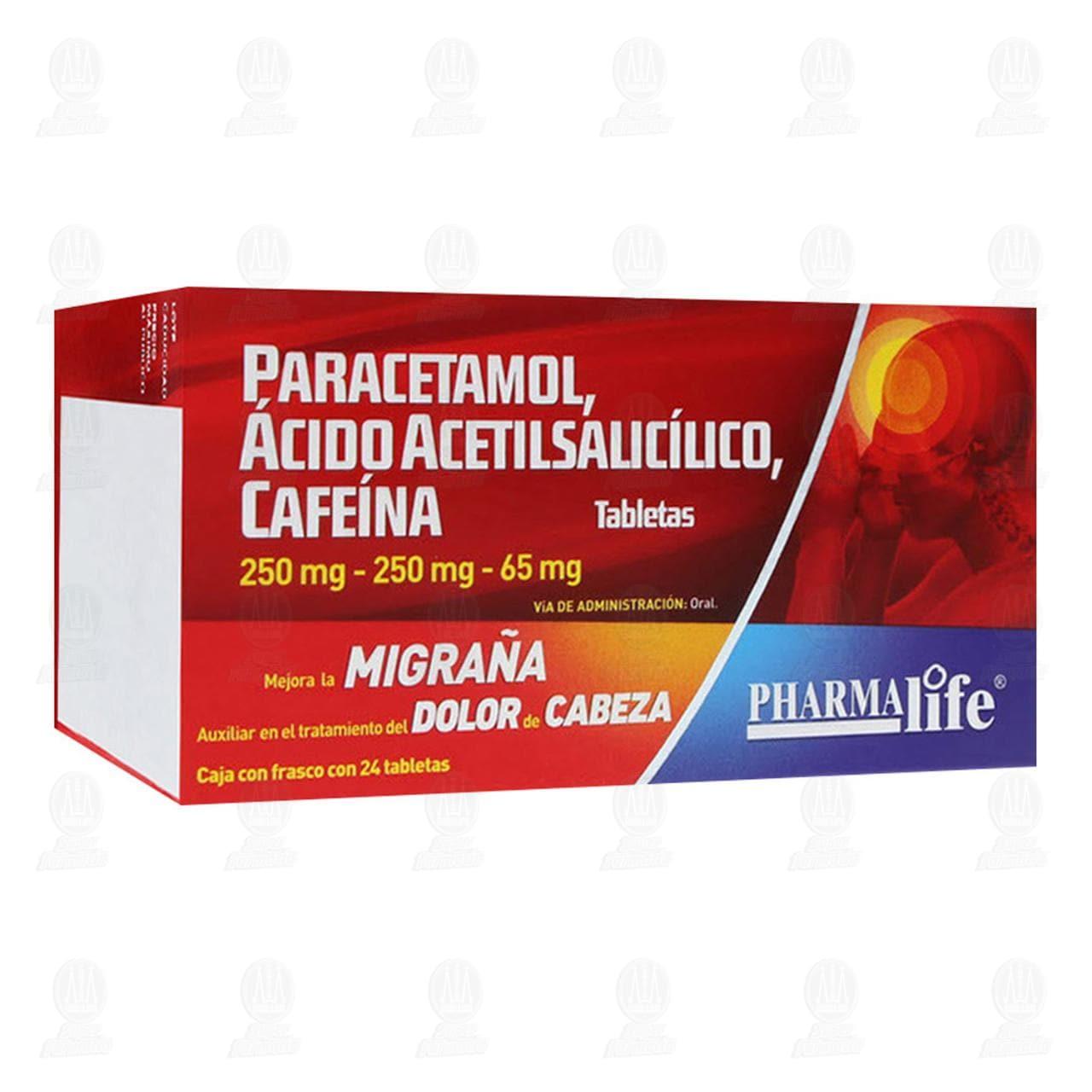 Comprar Paracetamol, Ácido Acetilsalicílico, Cafeína 250mg/250mg/65mg 24 Tabletas Pharmalife en Farmacias Guadalajara