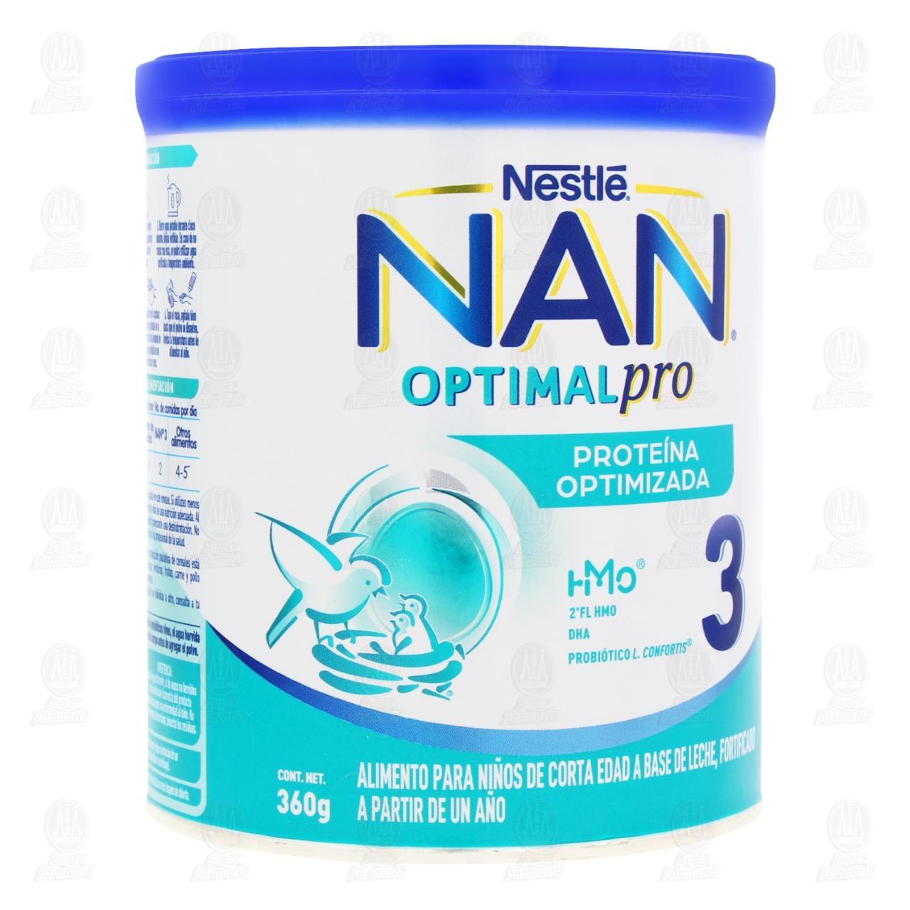 Comprar Alimento para Niños NAN 3 Optimal Pro (A Partir de 1 Año), 400 gr. en Farmacias Guadalajara