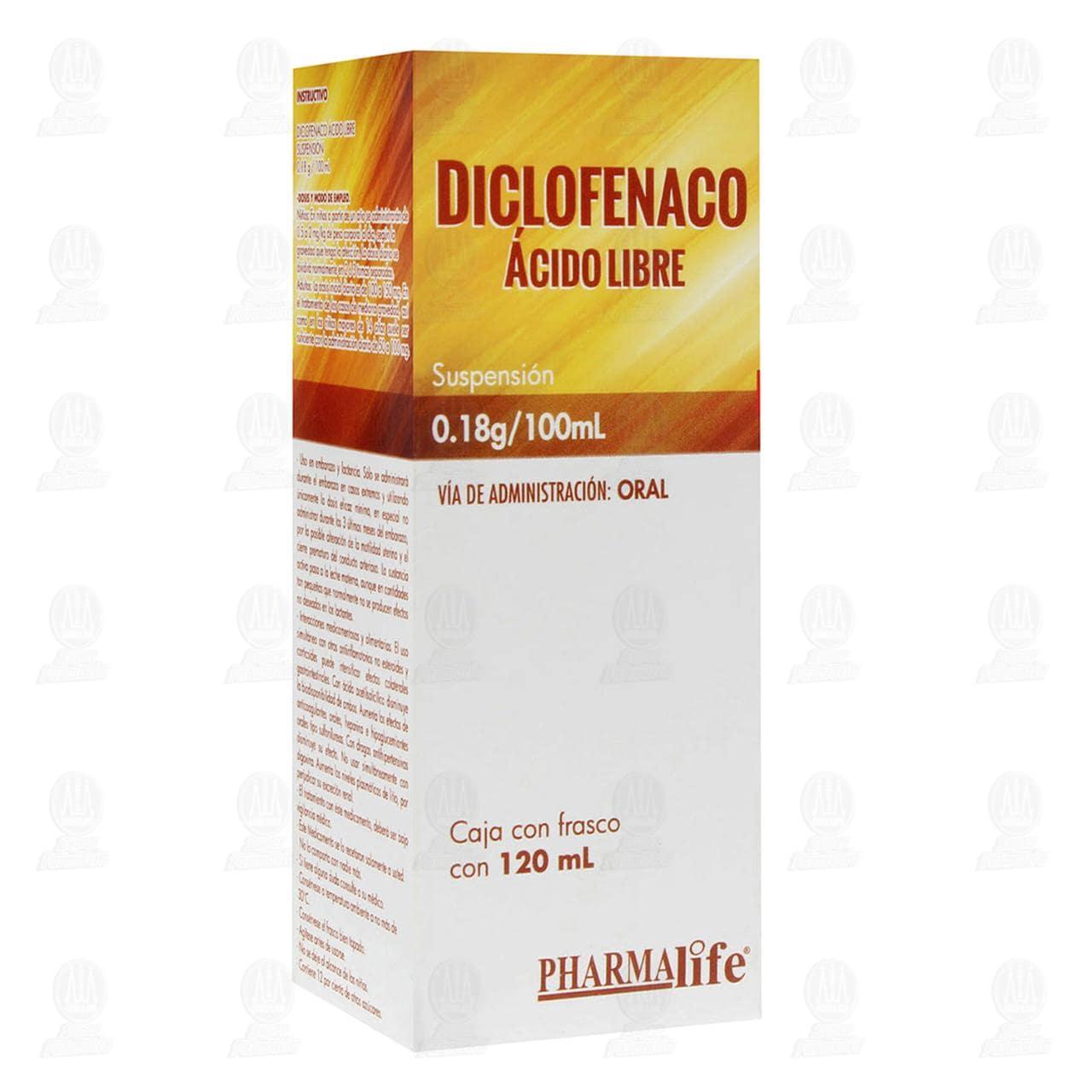 Comprar Diclofenaco Ácido Libre 0.18g/100ml 120ml Suspensión Pharmalife en Farmacias Guadalajara
