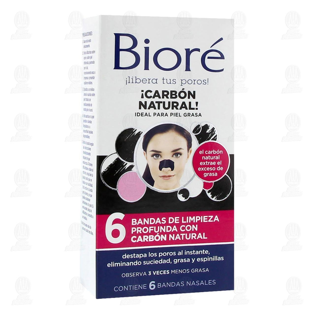 Comprar Bandas de Limpieza Bioré con Carbón Natural, 6 pzas. en Farmacias Guadalajara