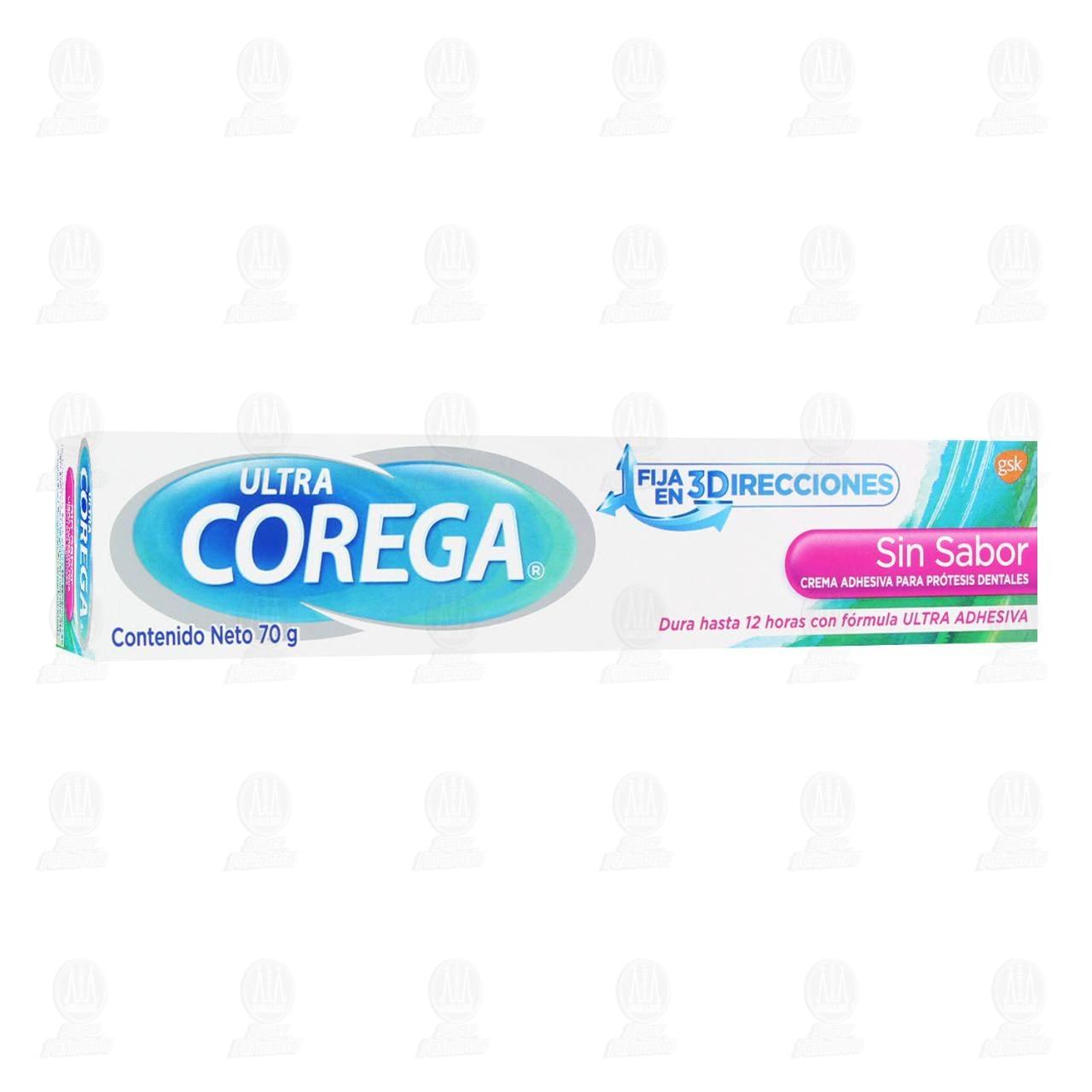 Crema Adhesiva Corega para Prótesis Dentales Sin Sabor, 70 gr.