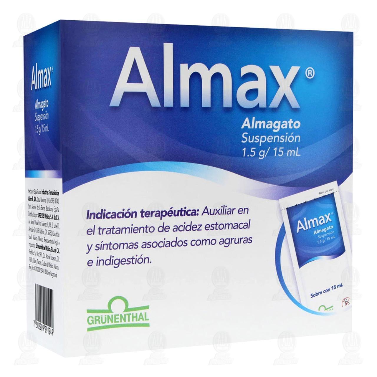 Comprar Almax 1.5gr Suspensión 24 Sobres 15ml c/u en Farmacias Guadalajara