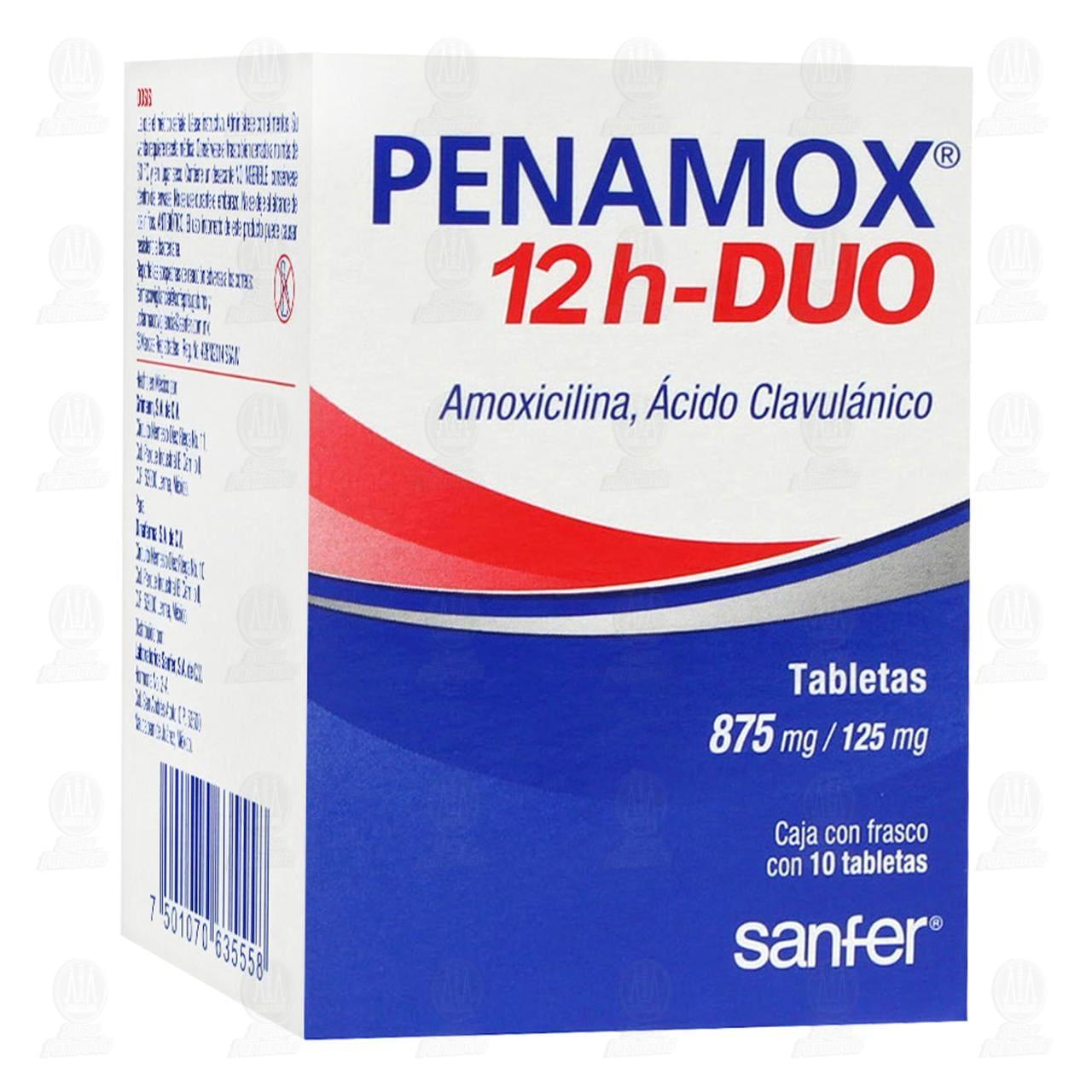 Comprar Penamox 12h Duo 875mg/125mg 10 Tabletas en Farmacias Guadalajara
