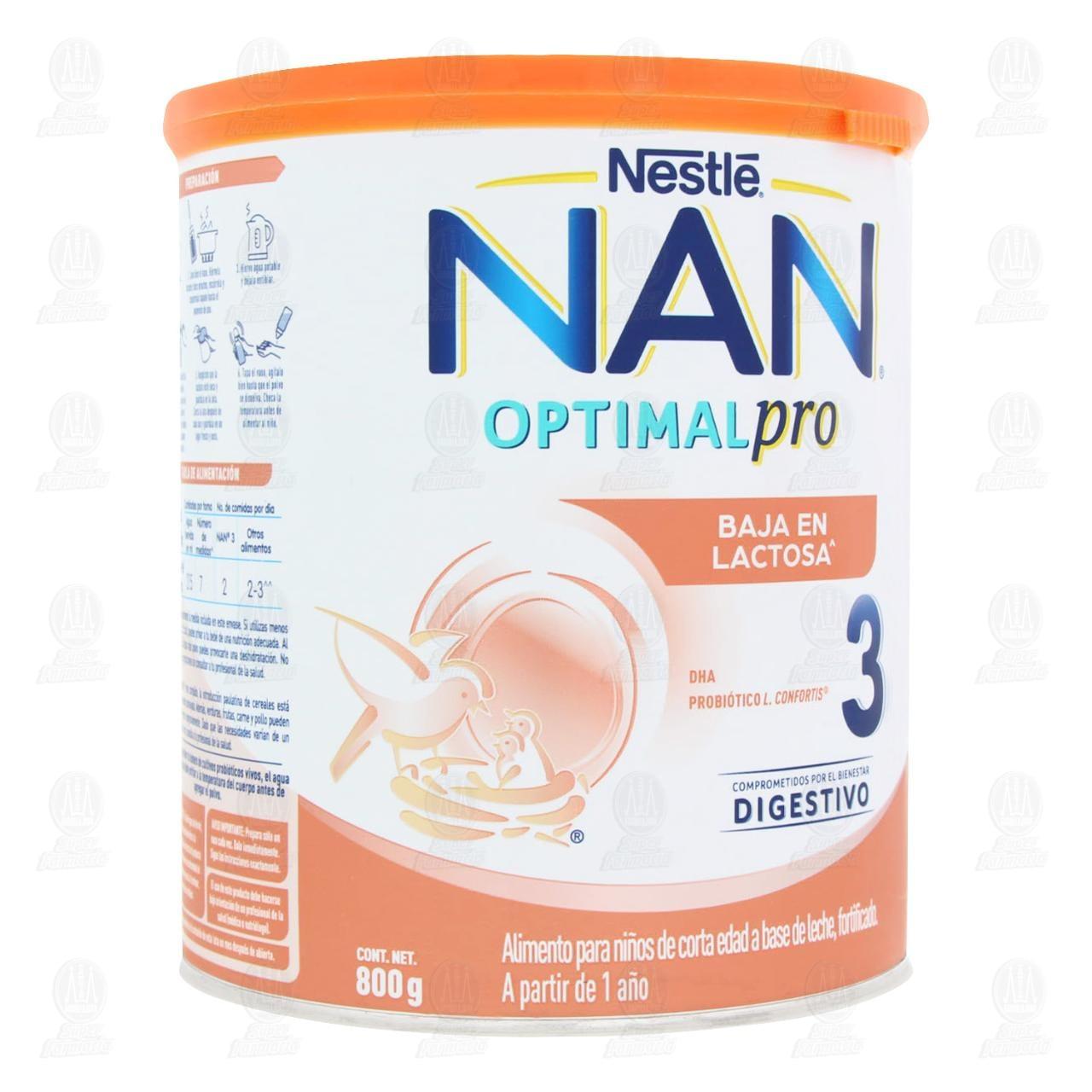 Comprar Alimento para Niños NAN 3 Optimal Pro Bajo en Lactosa (A Partir de 1 Año), 800 gr. en Farmacias Guadalajara