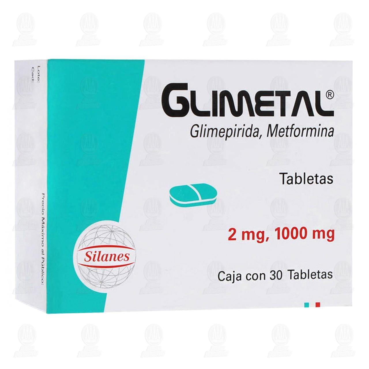 Comprar Glimetal 2mg/1000mg 30 Tabletas en Farmacias Guadalajara