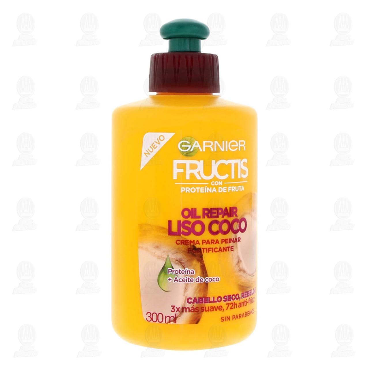 Crema para Peinar Fructis Oil Repair Liso Coco, 300 ml.
