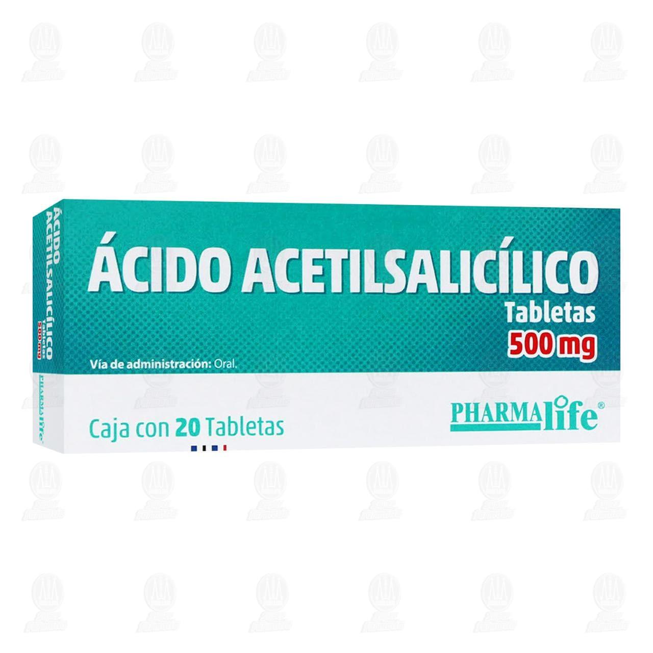 Comprar Ácido Acetilsalicílico 500mg 20 Tabletas Pharmalife en Farmacias Guadalajara