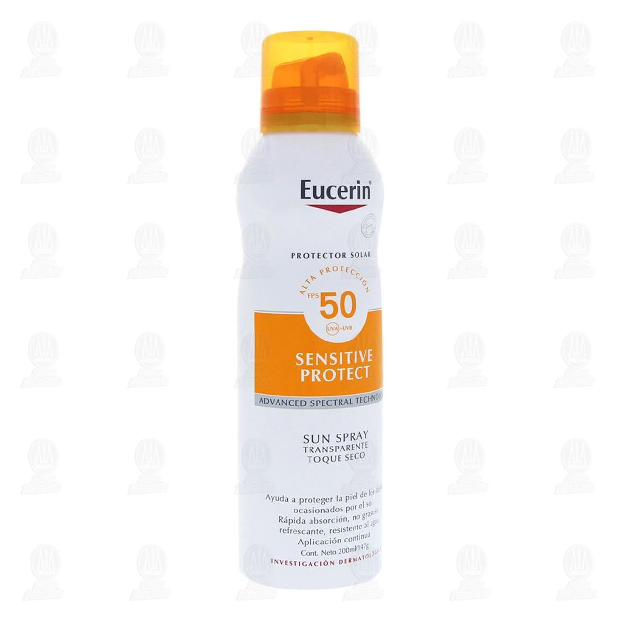 Comprar Eucerin Protector Solar Corporal Toque Seco FPS 50+ Spray, 200ml. en Farmacias Guadalajara
