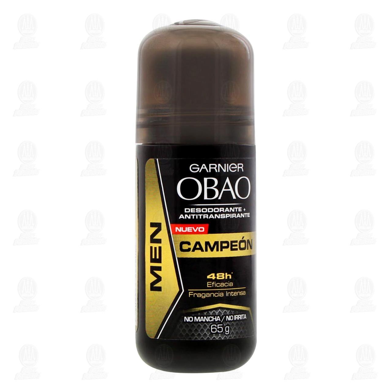 Comprar Desodorante + Antitranspirante Garnier Obao Men Campeón Roll-On, 65 gr. en Farmacias Guadalajara