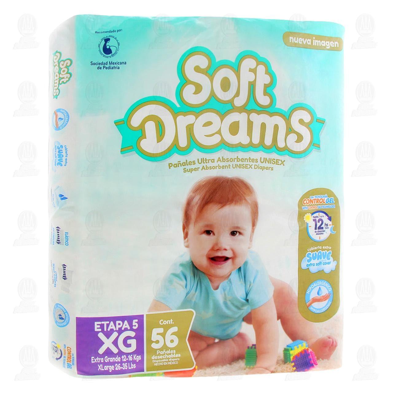 Comprar Pañales para Bebé Soft Dreams Unisex Talla Extra Grande, 56 pzas. en Farmacias Guadalajara