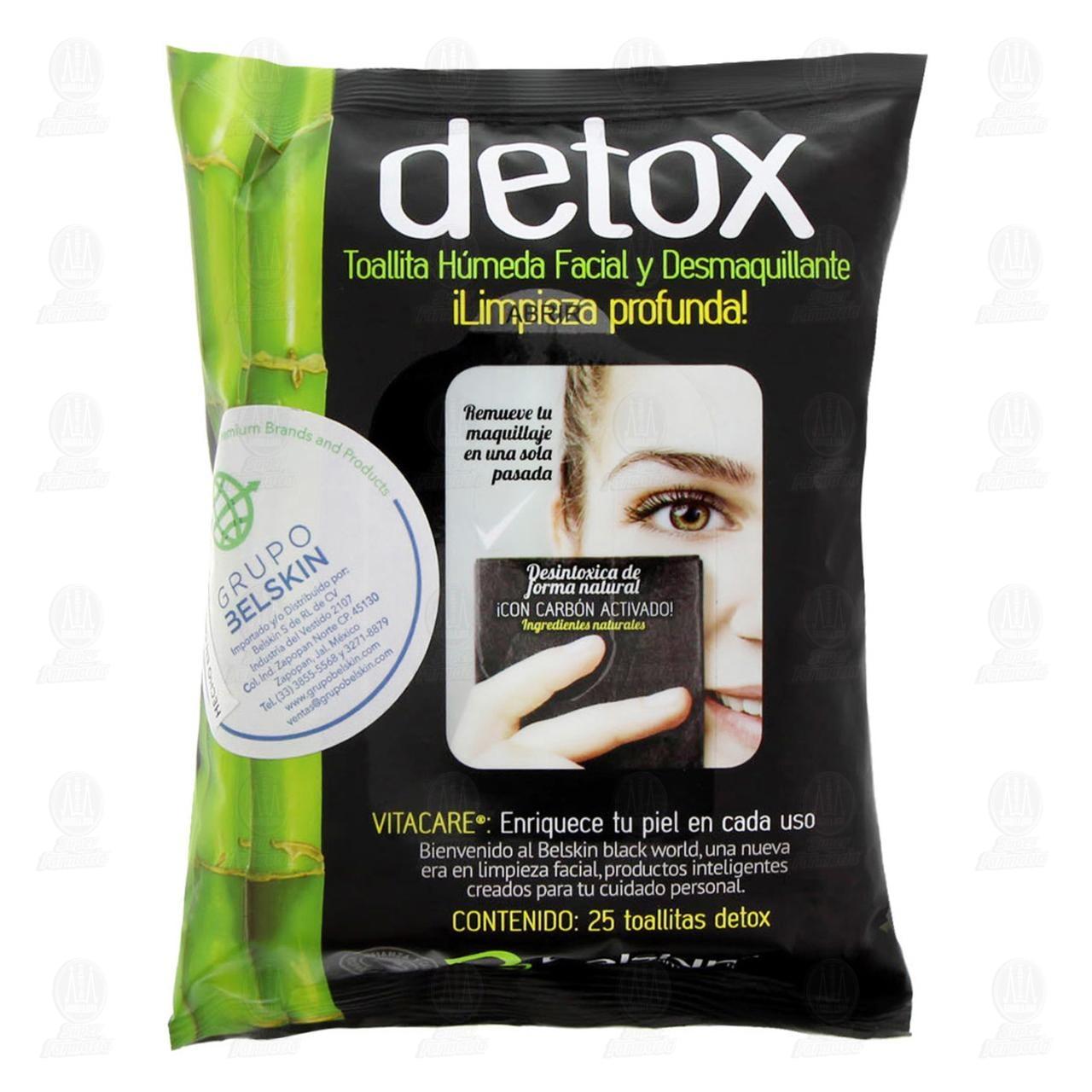 Comprar Toallitas Húmedas Detox Faciales y Desmaquillantes con Carbón Activado, 25 pzas. en Farmacias Guadalajara