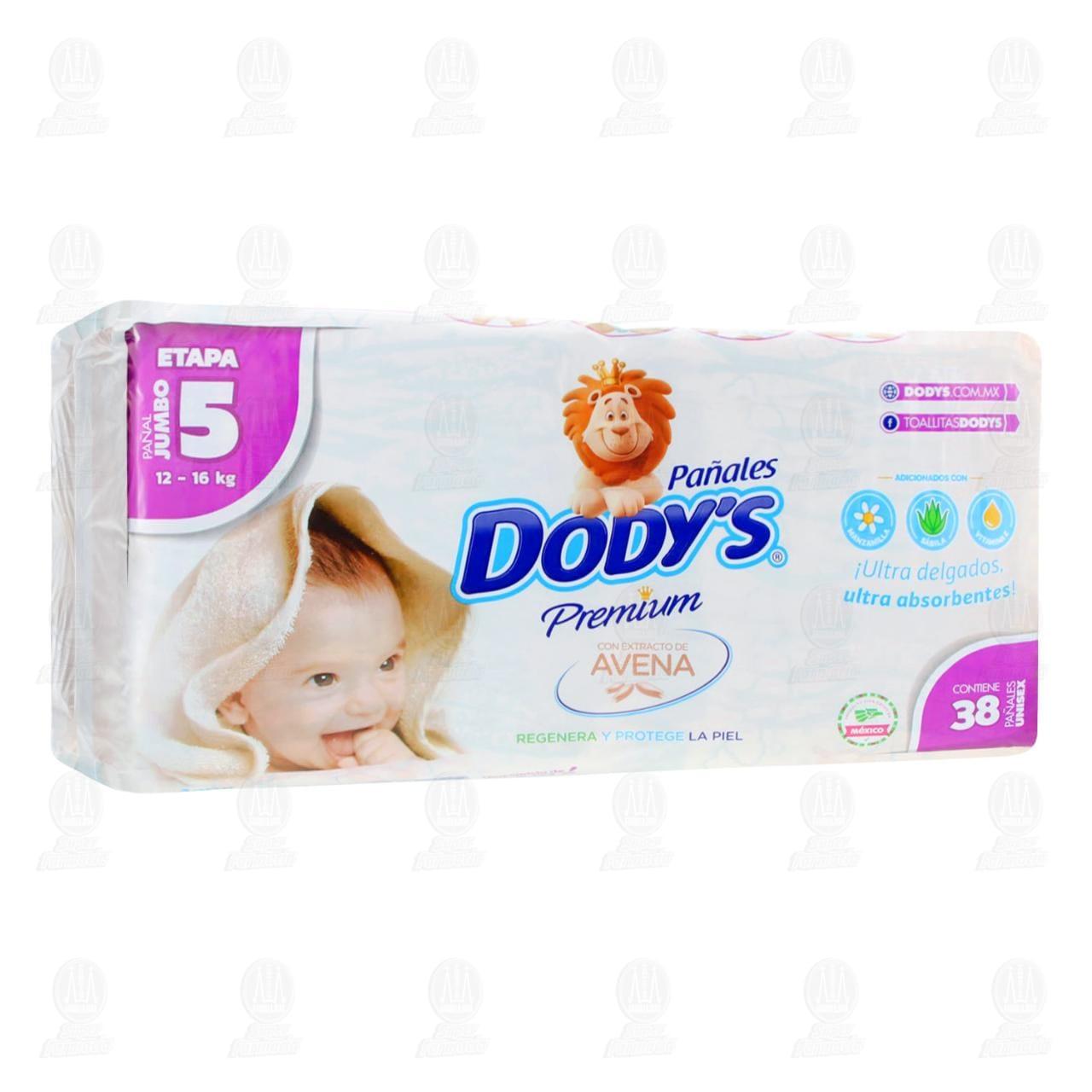 Comprar Pañales para Bebé Dody's Premium Unisex con Avena Etapa 5 Jumbo, 38 pzas. en Farmacias Guadalajara