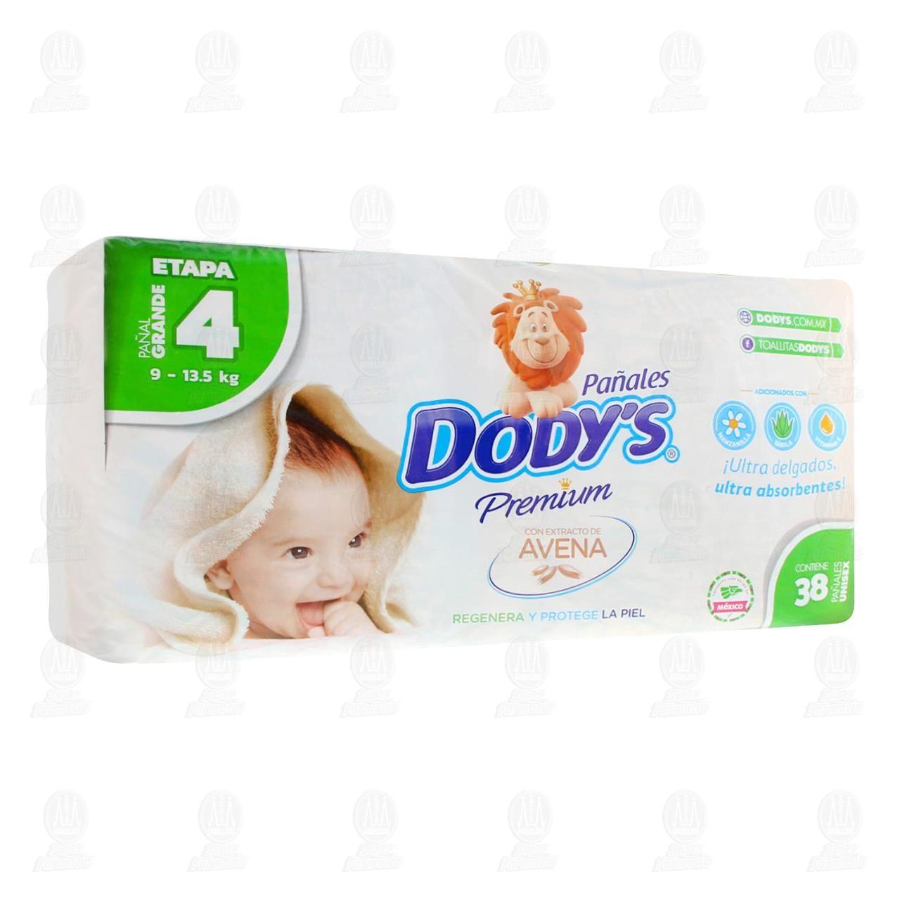 Comprar Pañales para Bebé Dody's Premium Unisex con Avena Etapa 4 Grande, 38 pzas. en Farmacias Guadalajara