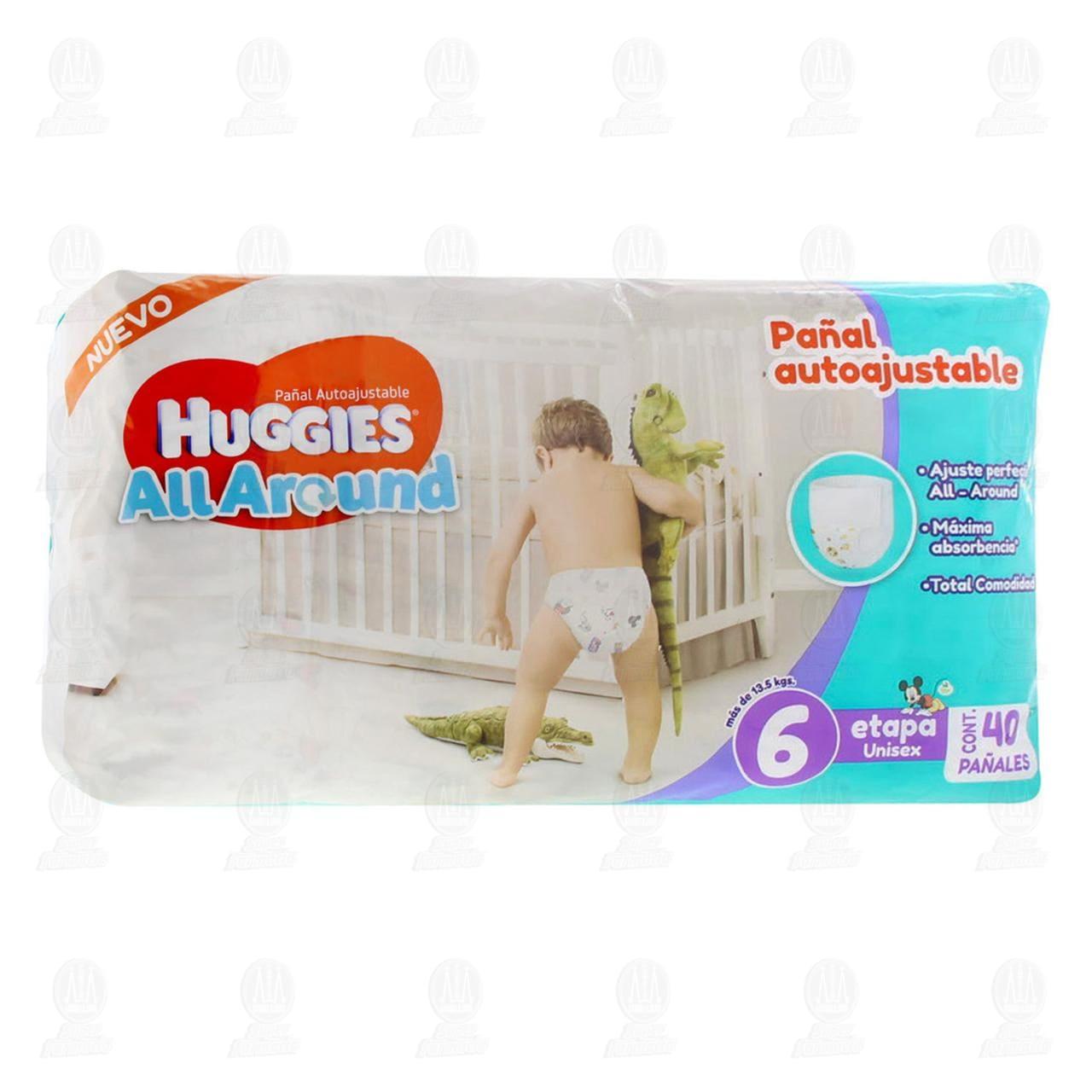 Comprar Pañales para Bebé Huggies All Around Autoajustables Unisex Etapa 6, 40 pzas. en Farmacias Guadalajara