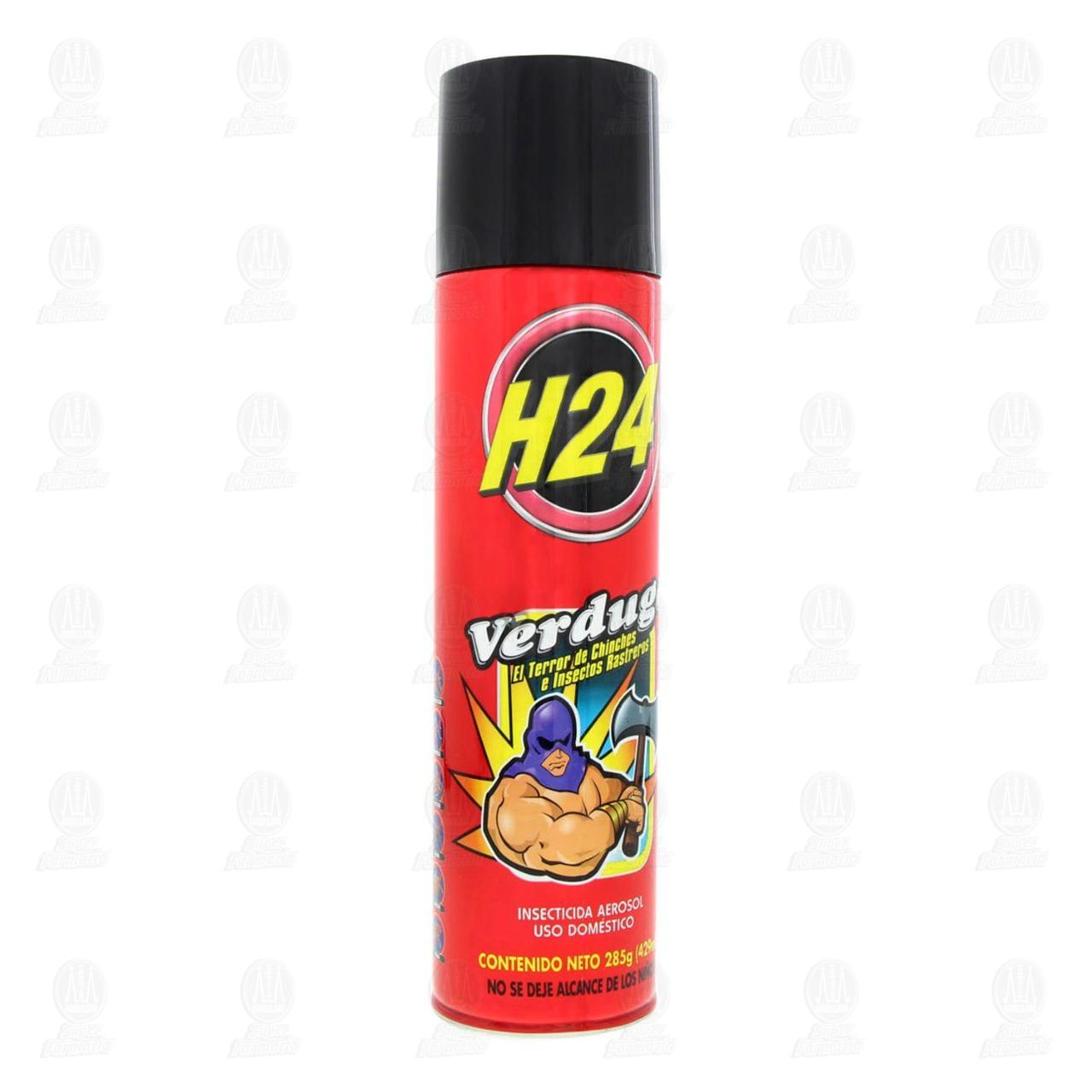 Insecticida H24 Verdugo en Aerosol Uso Doméstico, 429 ml.