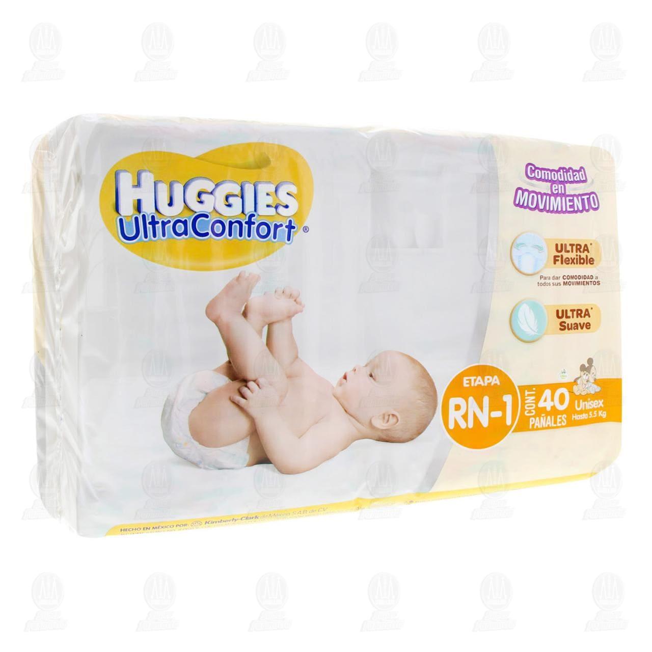 Comprar Pañales para Bebé Huggies UltraConfort Unisex Etapa RN, 40 pzas. en Farmacias Guadalajara