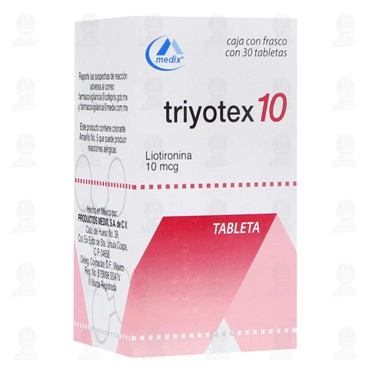 Comprar Triyotex10 30 Tabletas 10mcg en Farmacias Guadalajara