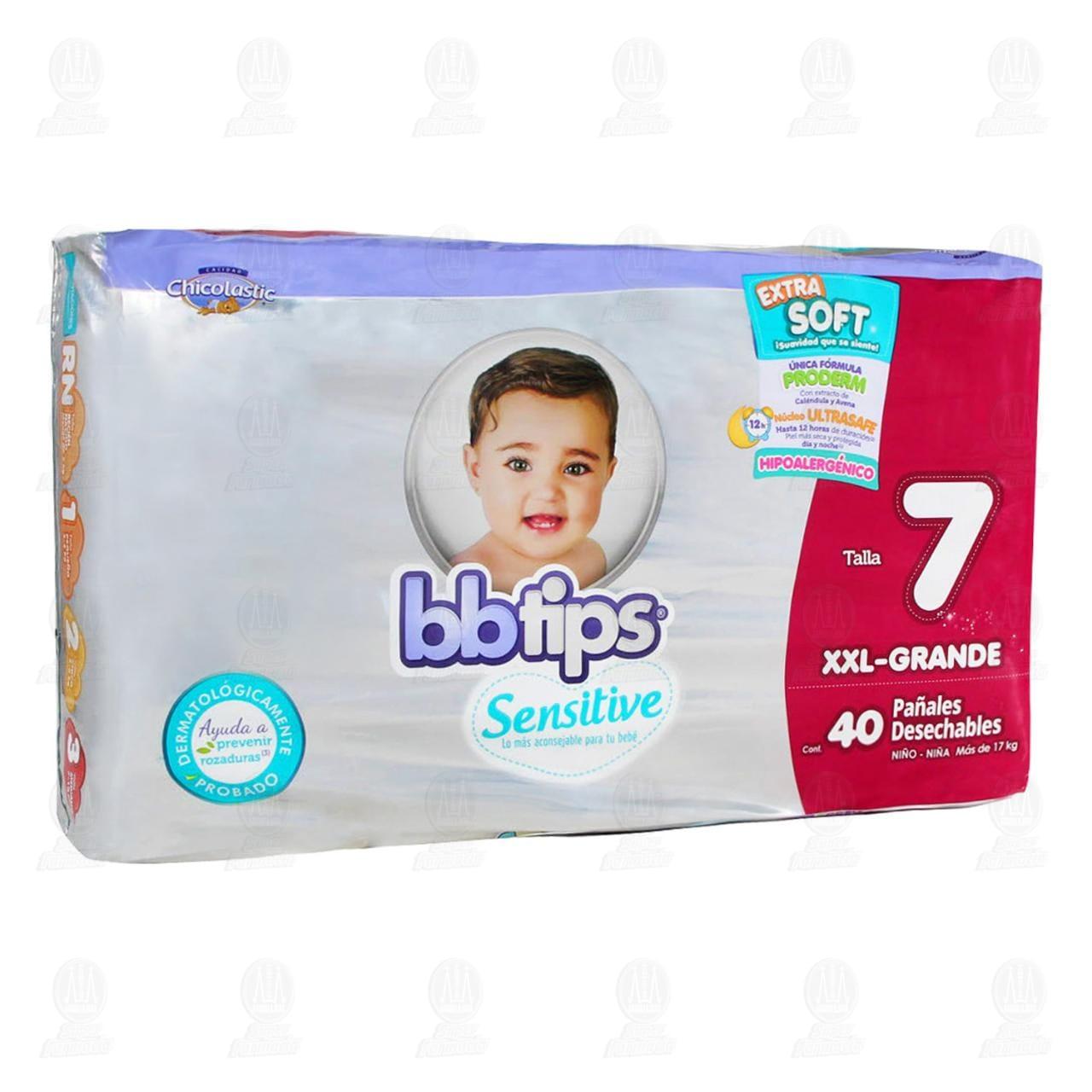 Comprar Pañales para Bebé Bbtips Sensitive Desechables Talla 7 XXL, 40 pzas. en Farmacias Guadalajara