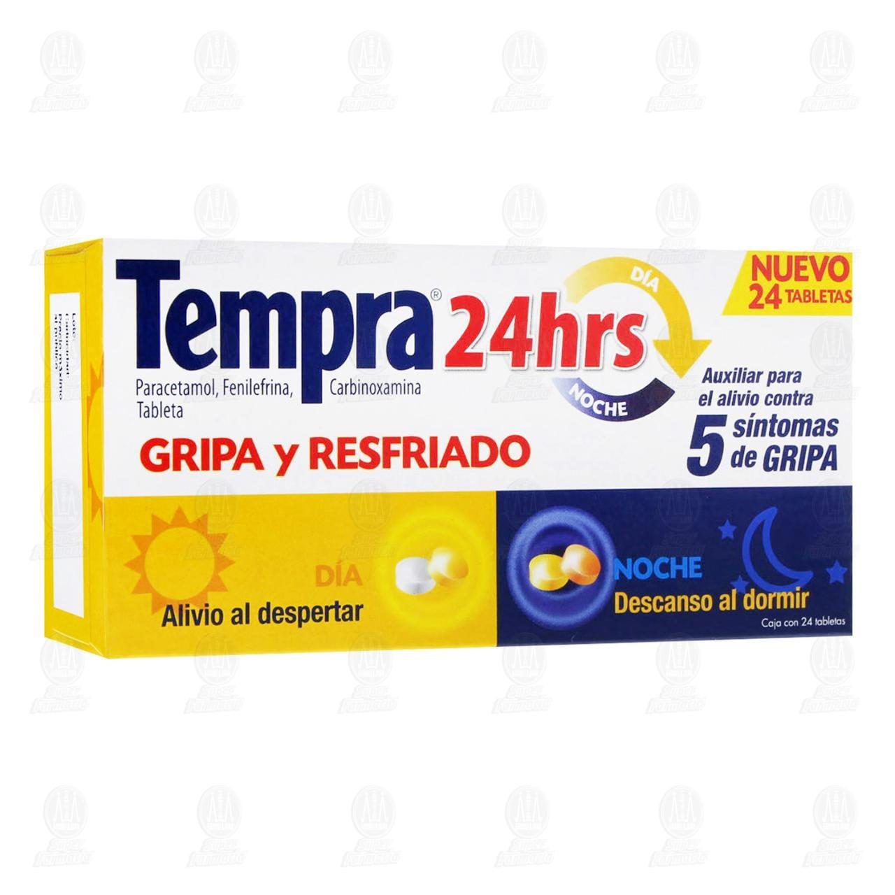 Comprar Tempra 24hrs Gripa y Resfriado 24 Tabletas en Farmacias Guadalajara
