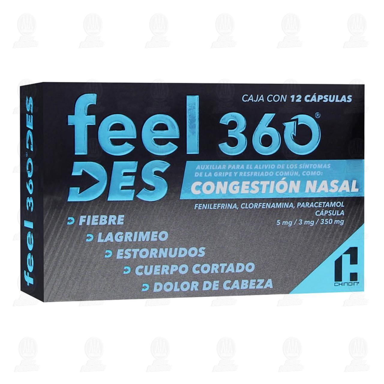 Comprar Feel 360 Congestión Nasal 12 Cápsulas en Farmacias Guadalajara
