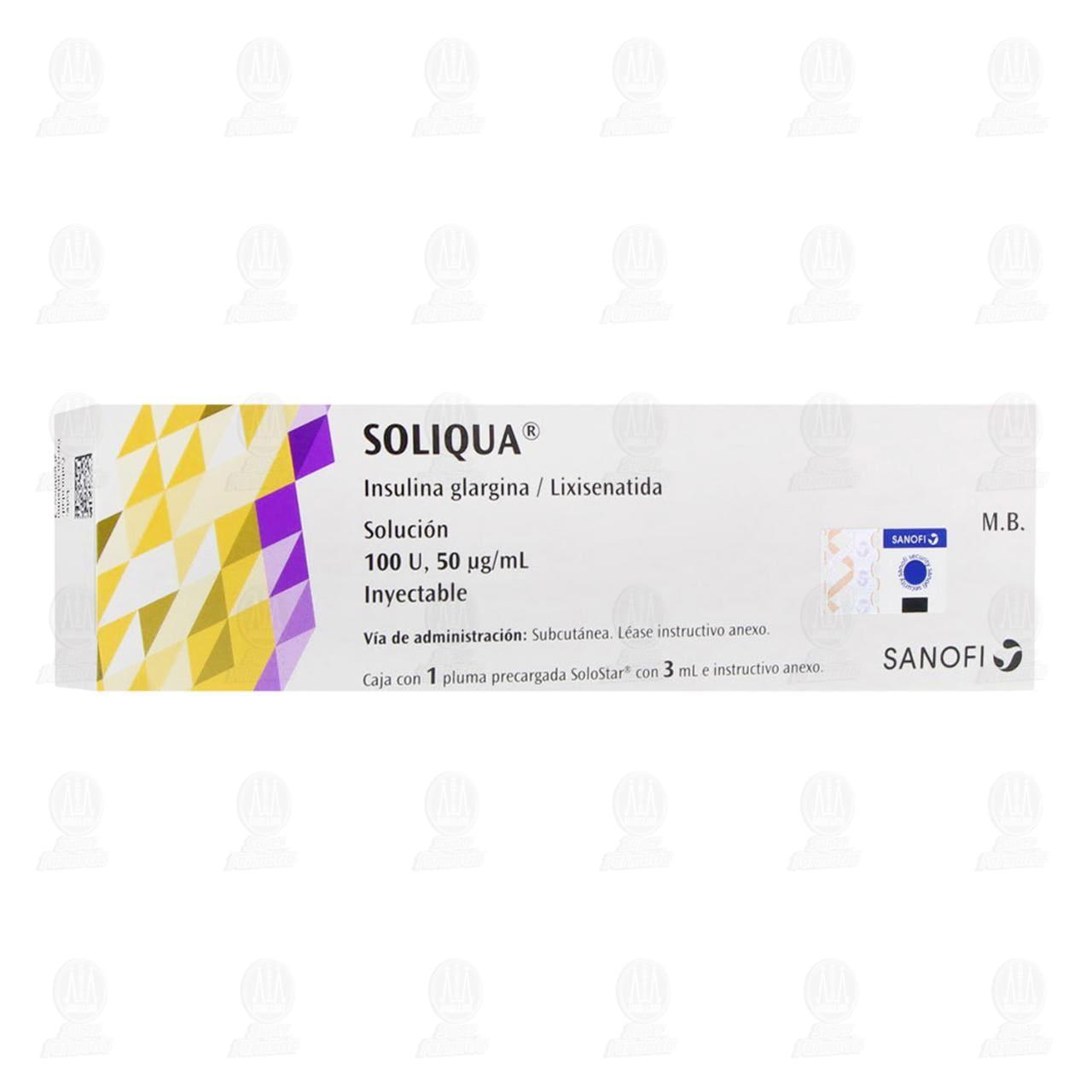Comprar Soliqua 100U,50mcg/ml Solución 1 Pluma Precargada 3ml en Farmacias Guadalajara