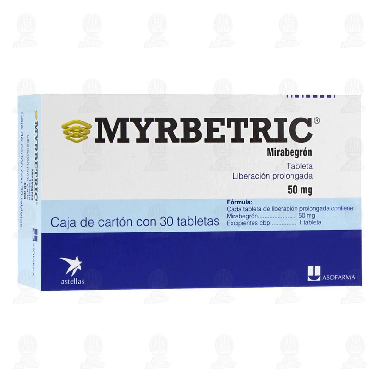 Comprar Myrbetric 50mg 30 Tabletas Liberación Prolongada en Farmacias Guadalajara