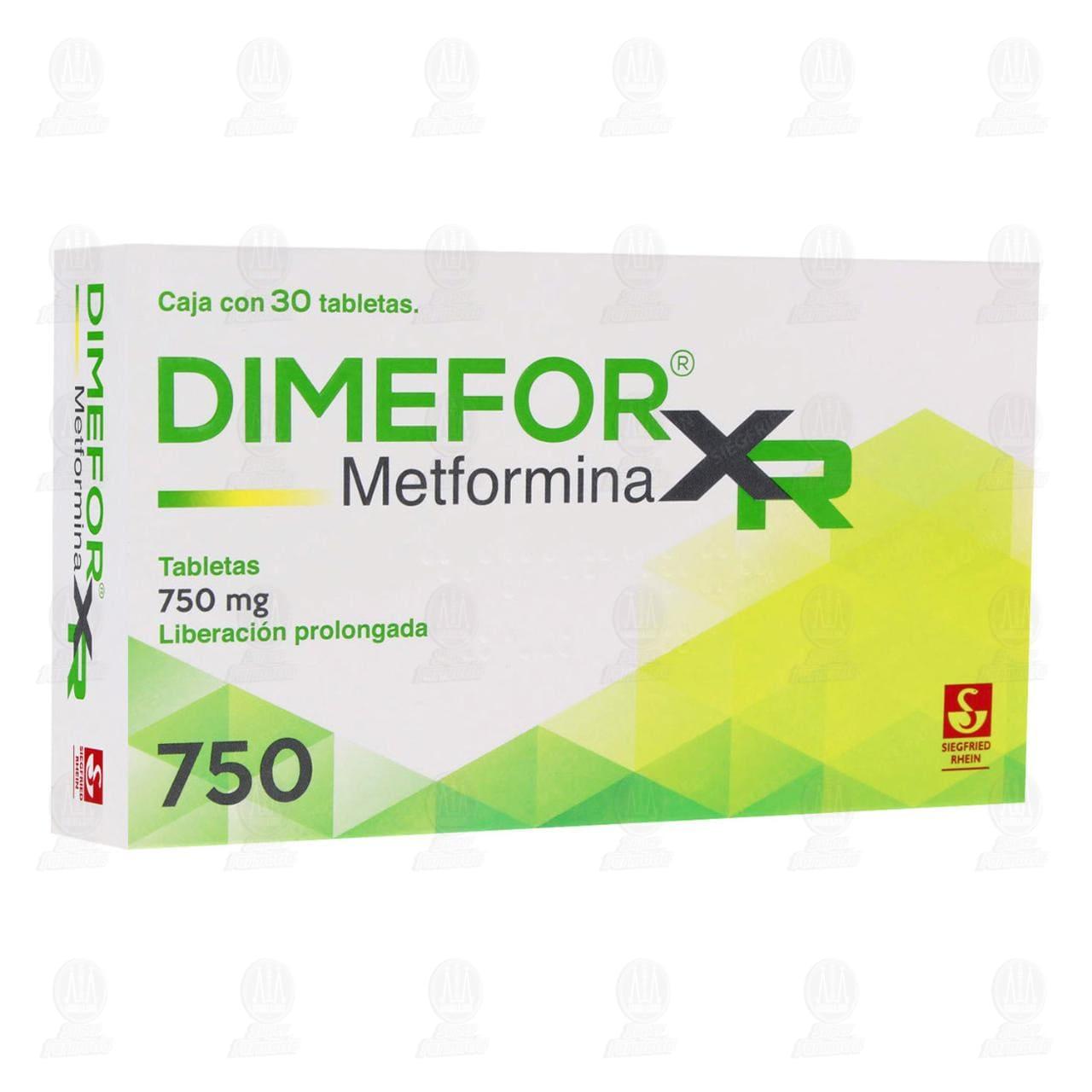 Comprar Dimefor XR 750mg 30 Tabletas Liberación Prolongada en Farmacias Guadalajara