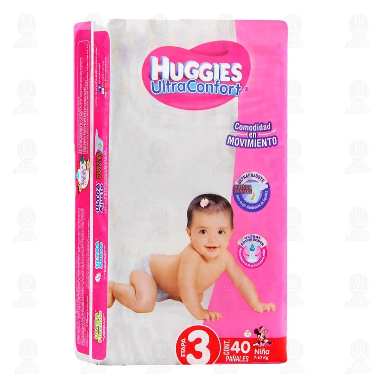 Comprar Pañales para Bebé Huggies UltraConfort Etapa 3 Niña, 40 pzas. en Farmacias Guadalajara