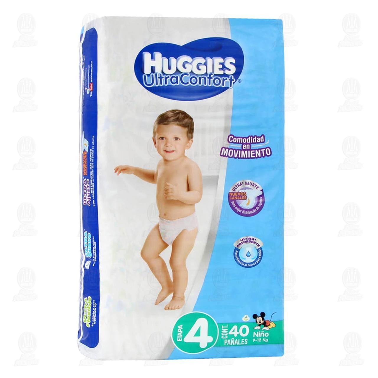 Pañales Huggies UltraConfort para Niño Etapa 4, 40 pzas.