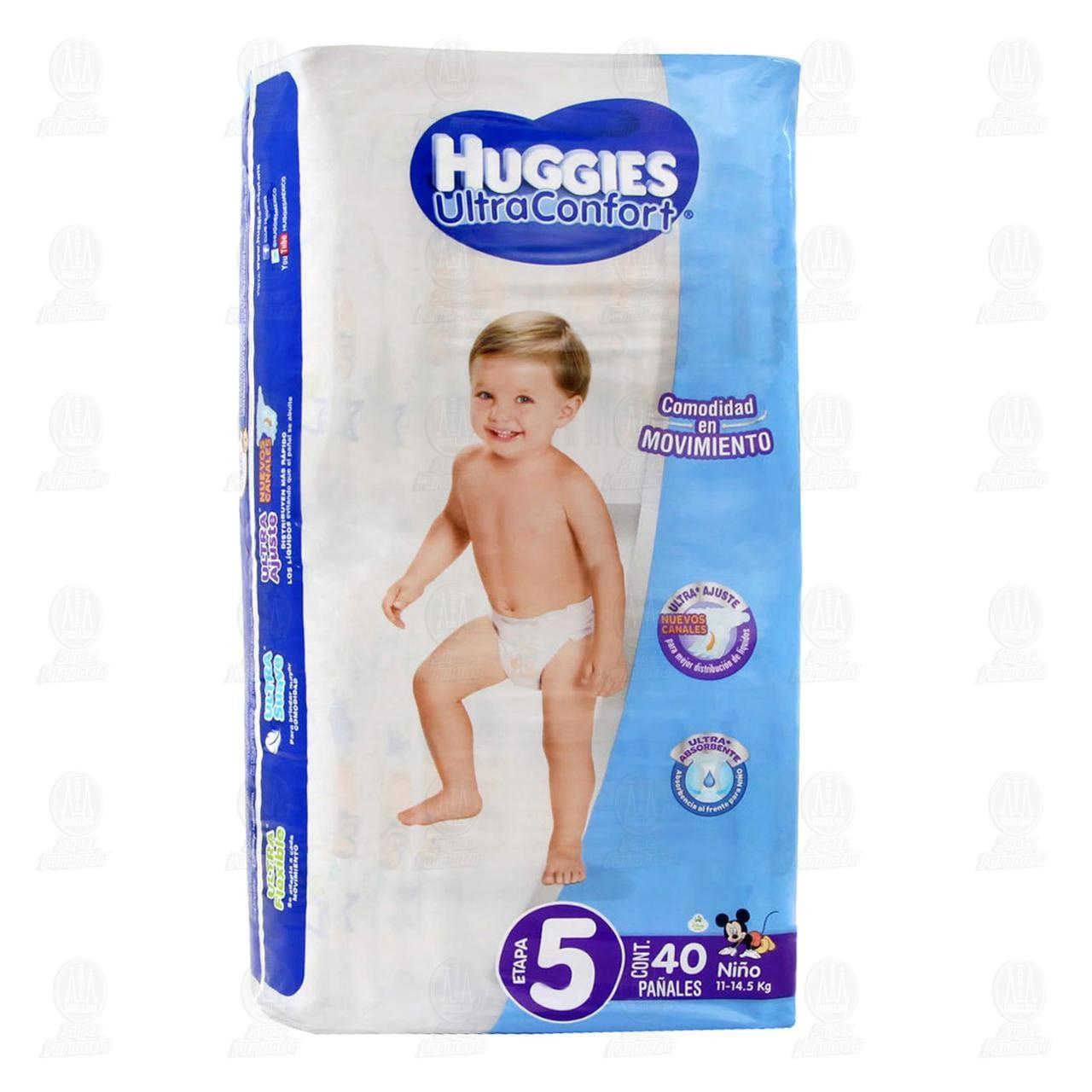 Pañales Huggies UltraConfort para Niño Etapa 5, 40 pzas.