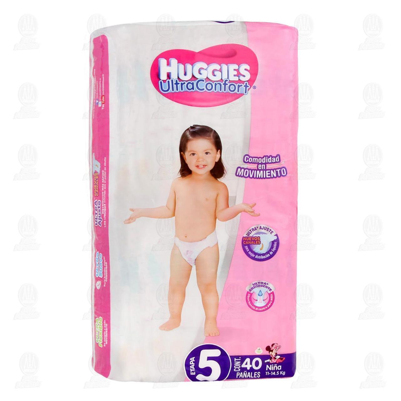 Pañales Huggies UltraConfort para Niña Etapa 5, 40 pzas.