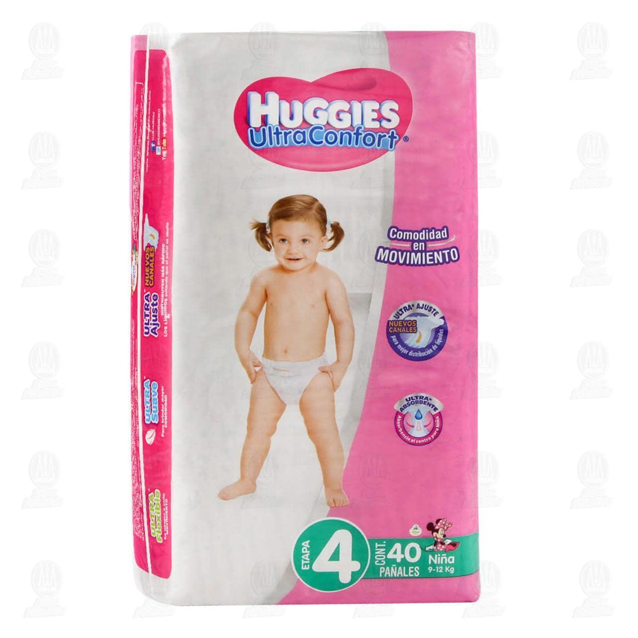 Pañales Huggies UltraConfort para Niña Etapa 4, 40 pzas.