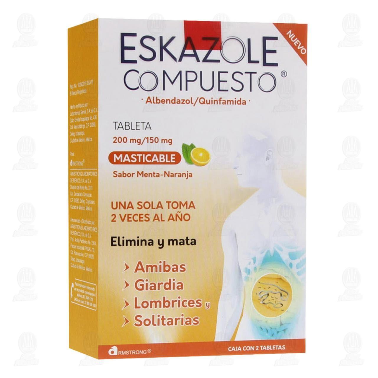 Comprar Eskazole Compuesto 200mg/150mg 2 Tabletas Masticables en Farmacias Guadalajara