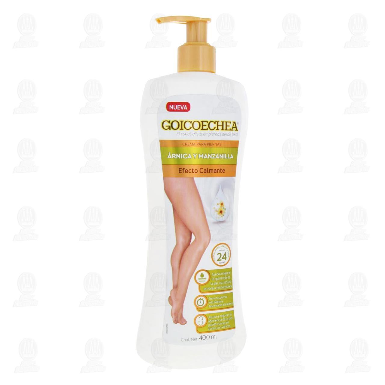 Comprar Crema para Piernas Goicoechea Efecto Calmante con Árnica y Manzanilla, 400 ml. en Farmacias Guadalajara