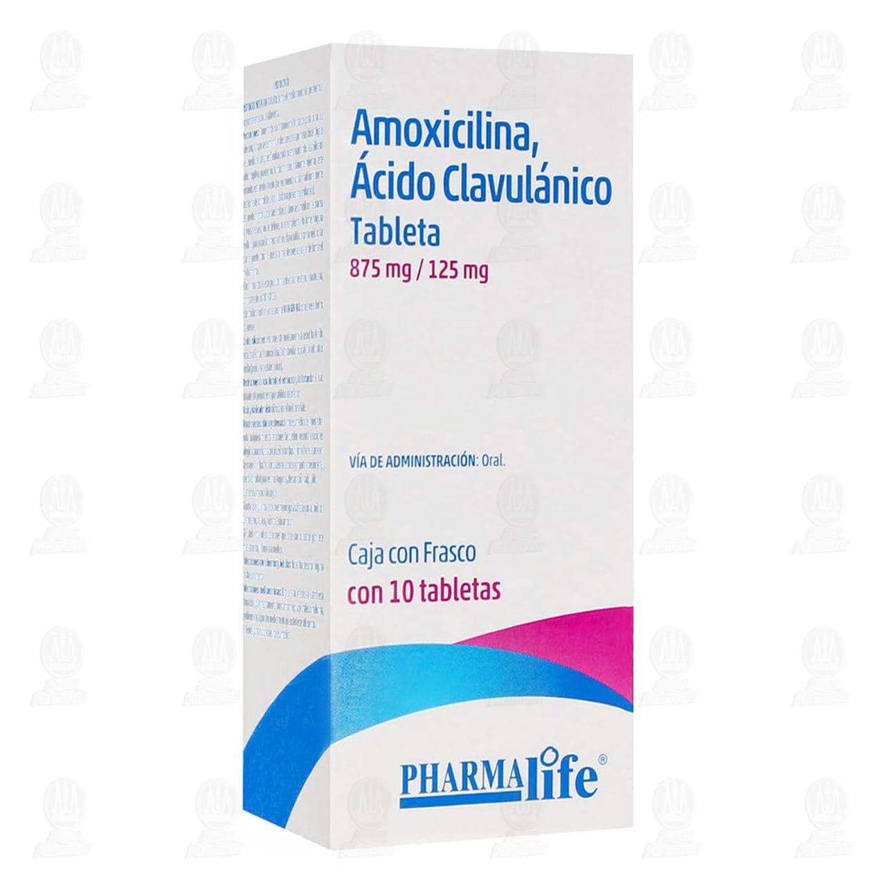 Comprar Amoxicilina, Ácido Clavulánico 875mg/125mg 10 Tabletas Pharmalife en Farmacias Guadalajara