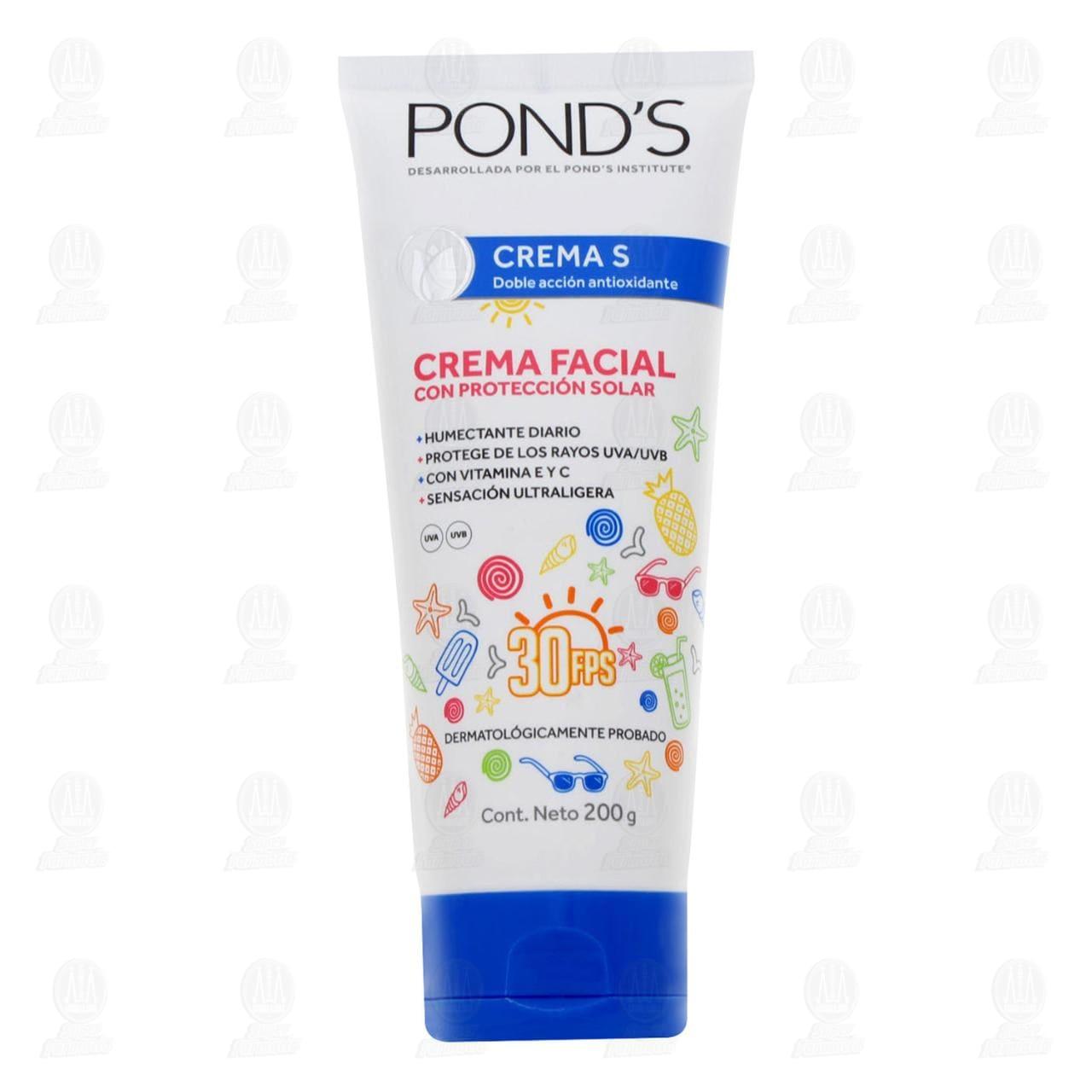 Comprar Crema Facial Pond's Crema S con Protección Solar, 200 gr. en Farmacias Guadalajara