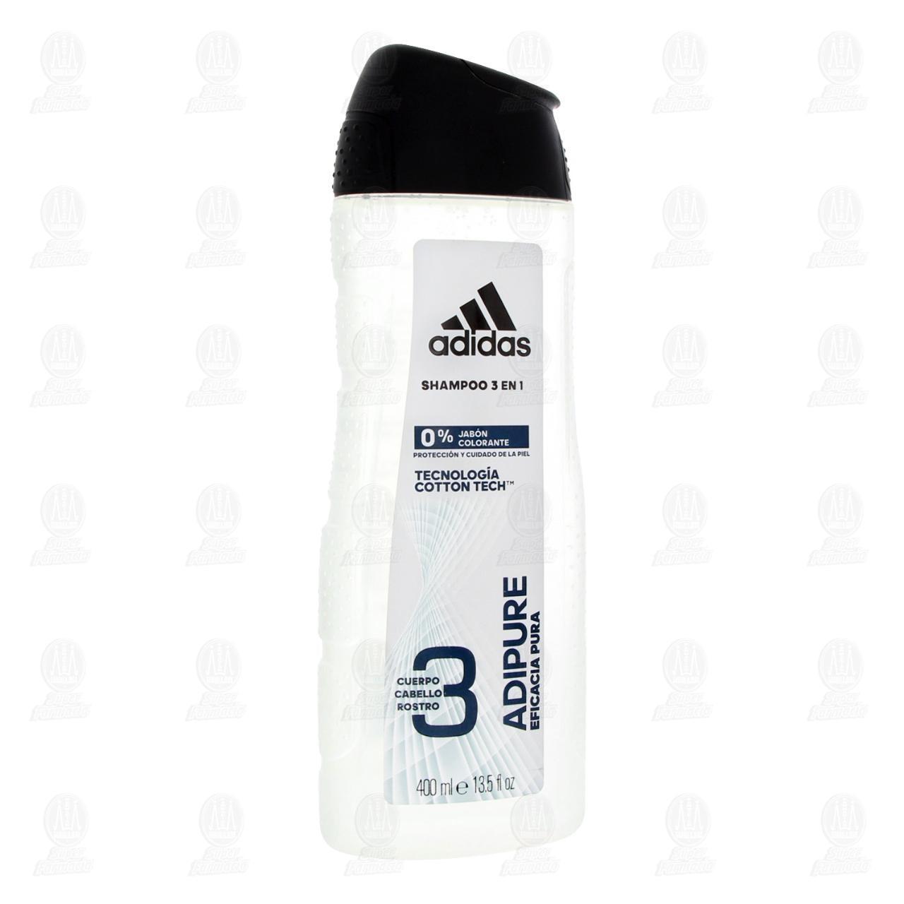 Comprar Shampoo Adidas Adipure 3 en 1 Eficacia Pura, 400 ml. en Farmacias Guadalajara