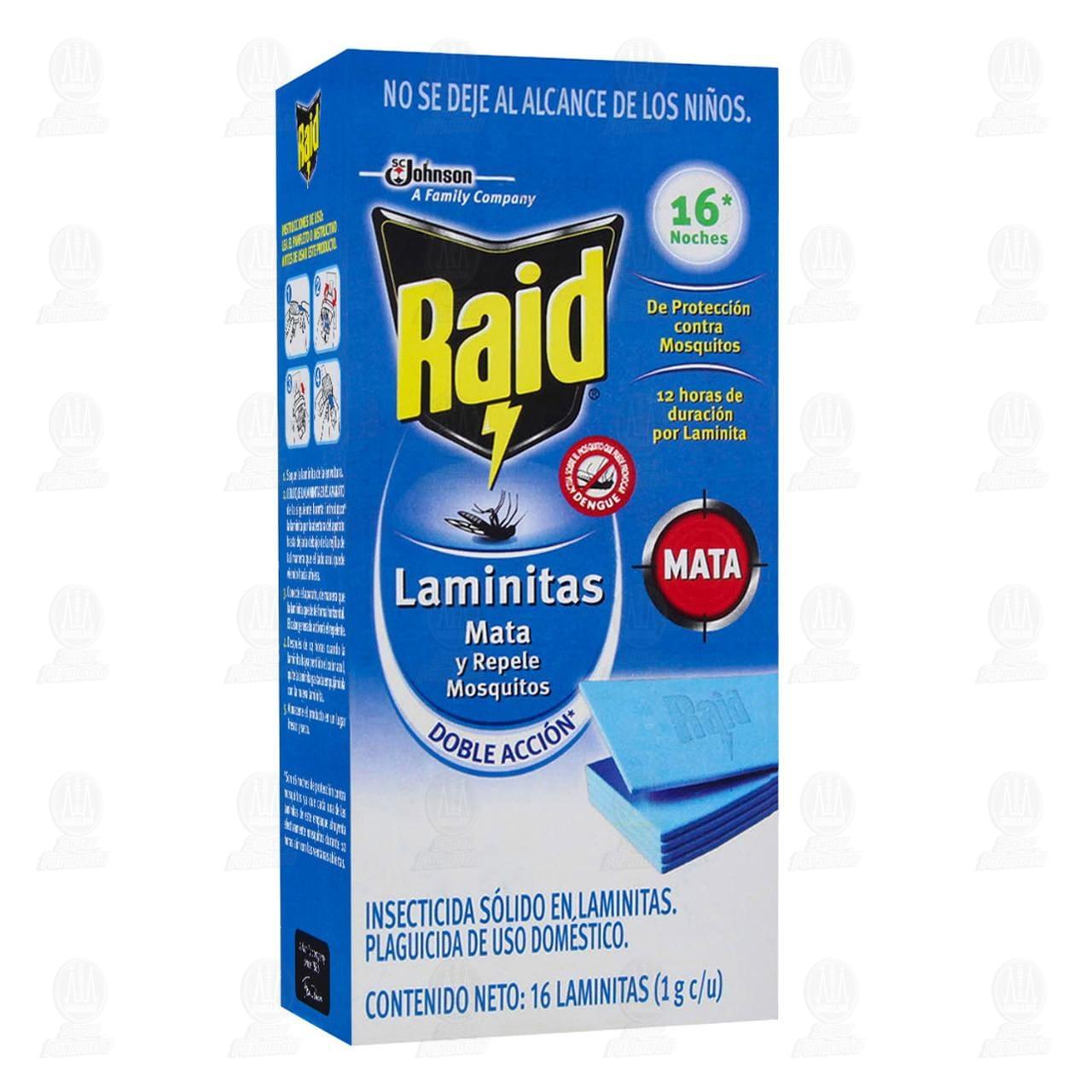 Insecticida Raid Laminitas Mata y Repele Mosquitos Uso Doméstico, 16 Piezas.