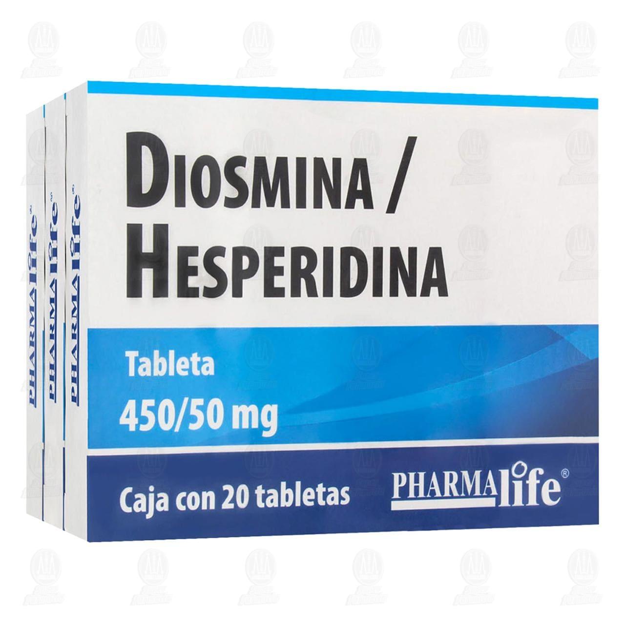 Diosmina Hesperidina 450/50 3 cajas con 20 Tabletas c/u Pharmalife.