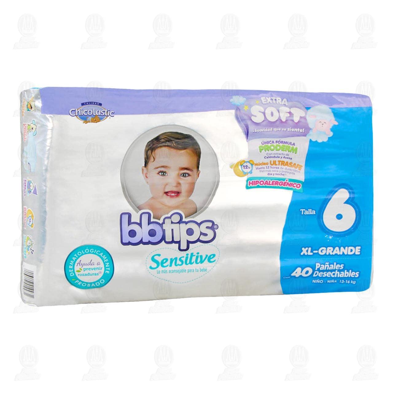 Comprar Pañales para Bebé Bbtips Sensitive Desechables Talla 6 XL, 40 pzas. en Farmacias Guadalajara