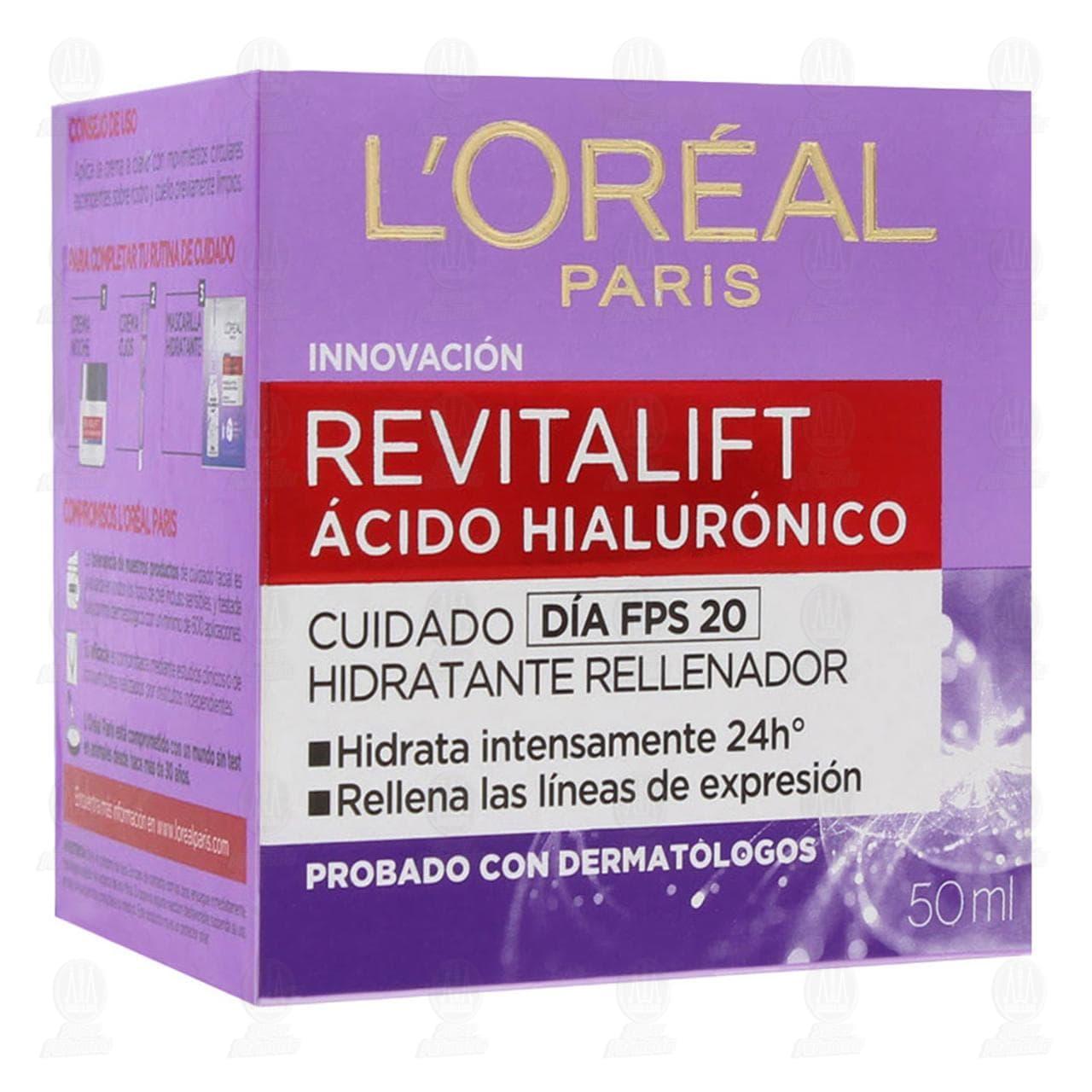 Comprar Crema Facial L'Oréal Revitalift Ácido Hialurónico Cuidado Día con FPS 20, 50 ml. en Farmacias Guadalajara