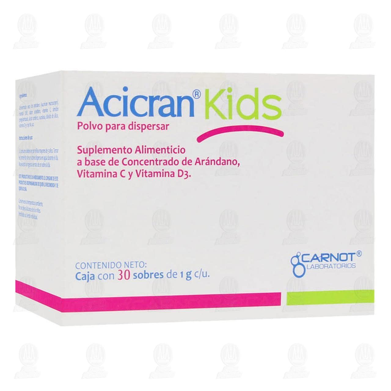 Comprar Suplemento Alimenticio Acicran Kids en Polvo, 30 Sobres de 1gr c/u. en Farmacias Guadalajara