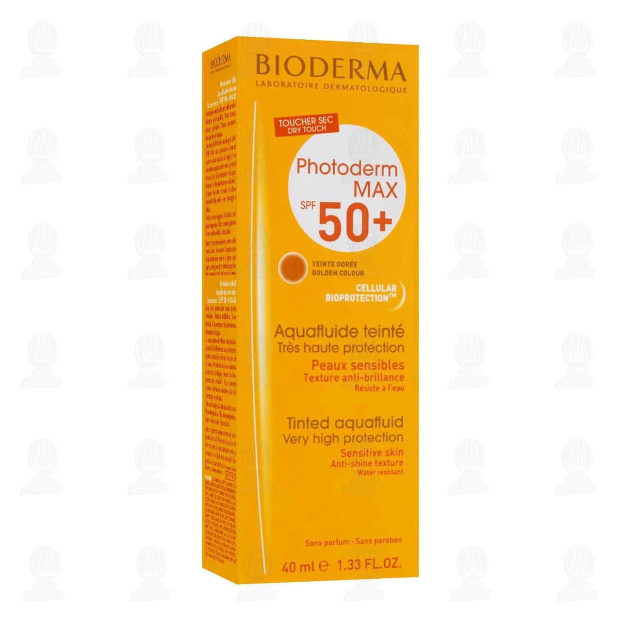 Comprar Protector Solar Bioderma Photoderm MAX Toque Seco SPF 50+ Tono Dorado, 40 ml. en Farmacias Guadalajara